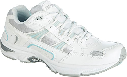 Action Leather Footwear (Vionic Orthaheel Women's Action Walker Shoes White Blue 7.5 Wide)