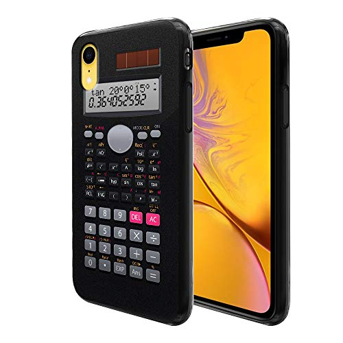 FINCIBO Case Compatible with Apple iPhone XR 6.1 inch, Flexible TPU Black Soft Gel Skin Protector Cover Case for iPhone XR - Scientific Calculator