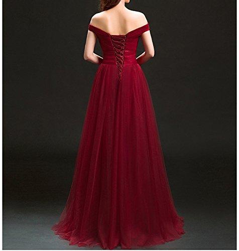 cerimonia da Abiti SHJJK di a nuziale rosso paragrafo brindisi era spalla sposa M lunga sottile da moda da vestiti sposa Slim abito banchetto sera fx4qwqE5