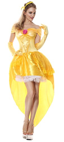 Cheap Princess Costumes For Adults (Lusiya Women's Fantasy Halloween Princess Storybook Costume Yellow Large)