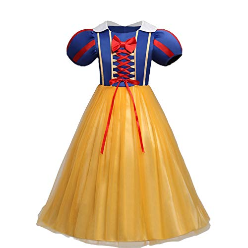 Little Girls Snow White Dress for Birthday Princess Costume Baby Tutu Dress Pageant Long Dresses Evening Dance Tulle Ball Gowns Toddler Kids Christmas Halloween Fancy Party Dress up Cosplay -