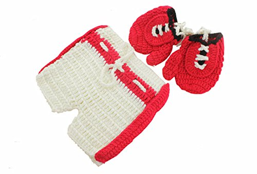 M&G House Newborn Baby Boy Photography Props Handmade Crochet Knitted Boxing Glove Shorts Outfit (Boxer Girl Halloween)
