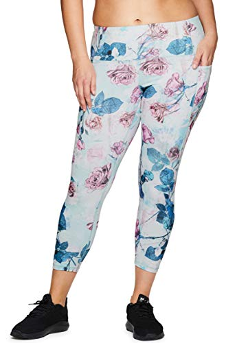 RBX Active Women's Plus Size Floral Workout Yoga Leggings with Pockets Floral 3X