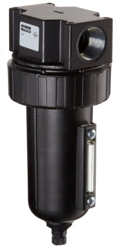 Parker 07F44AC Compressed Air Filter, Removes Particulate, Metal Bowl with Sight Gauge, Manual Drain, 40 Micron, 145 scfm, 3/4'' NPT by Parker