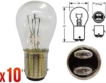 10 X Lampada Lampadina Auto Ba15d R380 P21 5 12v 5w 2 Filamenti Drl Stop Posizione Anteriore Posteriore 1 Adesivo Da Pc Ricambi Auto Europa Gratis Amazon It Auto E Moto
