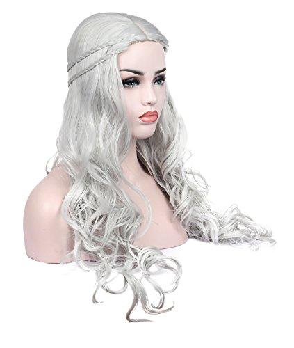 Kalyss Heat Resistant Synthetic Hair Wig Long Wavy Curly Sliver Grey Cosplay Costume Wigs for Game of Thrones Daenerys Targaryen khalees Halloween Hair wig 24 inches (Sliver Grey) -