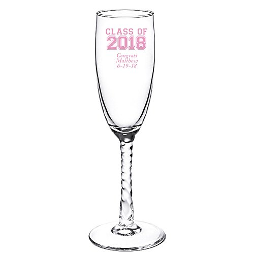 Personalized Color Printed Twisted Stem Champagne Flute - Class of 2018 - Pink - 144 pack (Stem Twisted Flute)
