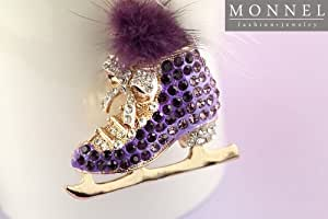 Z633 Cute Purple Style Crystal Skate Shoe Big Charm Keychain Key Ring
