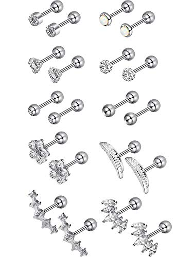 tud Stainless Steel Barbell Earring Set Cartilage Helix Earring Piercings for Tragus Cartilage Ear (Silver Color 3) ()