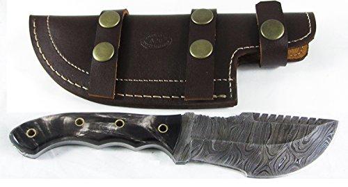 Moorhaus Handmade Firestorm Damascus Genuine Buffalo Horn Tracker Knife Sub Hilt with Serrated Upper Spine - a Work of Art! by Moorhaus (Image #2)