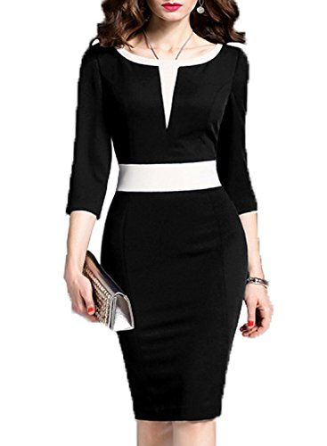 WOOSEA Women's 2/3 Sleeve Colorblock Slim Bodycon Business Pencil Dress (Large, Black+White #2) ()