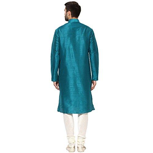 KISAH Men's Teal Blue Dupion Silk Solid Kurta Churidar Set by KISAH (Image #3)