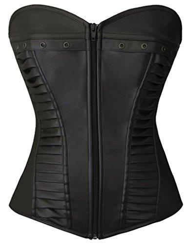 Lotsyle Women Faux Leather Lace up Zipper Body Shaper Shapewear Overbust Corset Black-XL by Lotsyle