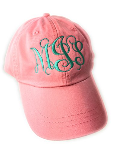Mary's Monograms Monogrammed/Personalized Woman's Coral Baseball - Hat Monogram