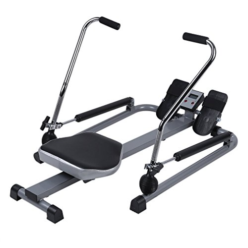 Abdominal Resistance Rowing Machine Exercise Rower Body Glider with LCD Monitor Home Gym Ab Muscle Trainer Equipment by CalmTime