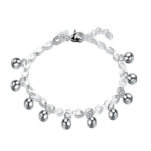 - Goldenchen Fashion Jewelry 925 Silver Plated Adjustable Bells Chain Bracelet/Anklet for Women Girls