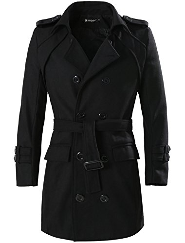 Allegra K Men Button-tab Epaulets Double Breasted Belted Coat Black L