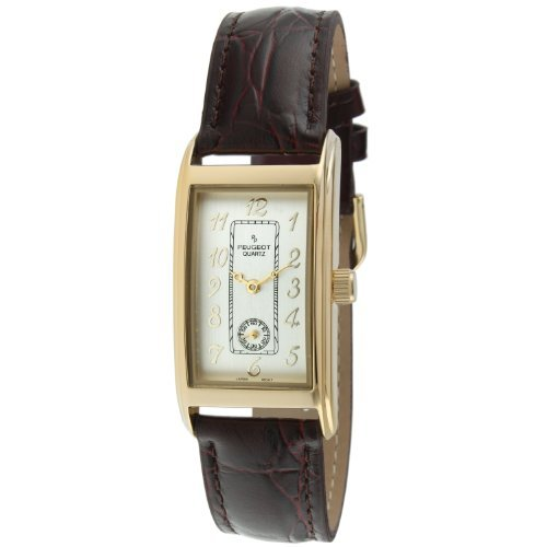Peugeot Vintage 2039G Men's Gold-tone Brown Leather Contour Watch