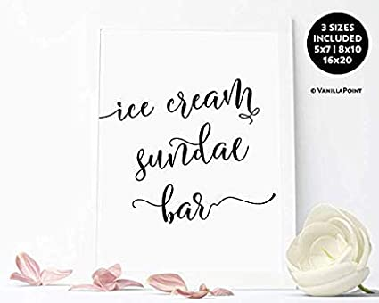image about Wedding Signs Printable titled : rcipsz259 Framed Ice Product Sundae Bar Indicator