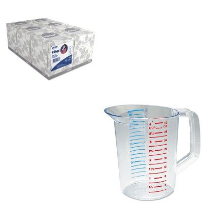 KITKIM21271RCP3216CLE - Value Kit - Rubbermaid-Clear Bouncer Measuring Cups 1 Quart (RCP3216CLE) and KIMBERLY CLARK KLEENEX White Facial Tissue (1 Quart Bouncer)