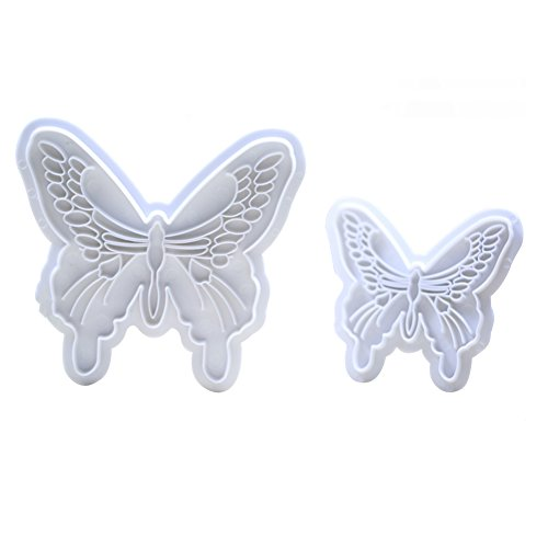KALAIEN 2pcs Butterfly Sugarcraft Cookie Cutters DIY Embossing Cutter for Cupcake Decorating