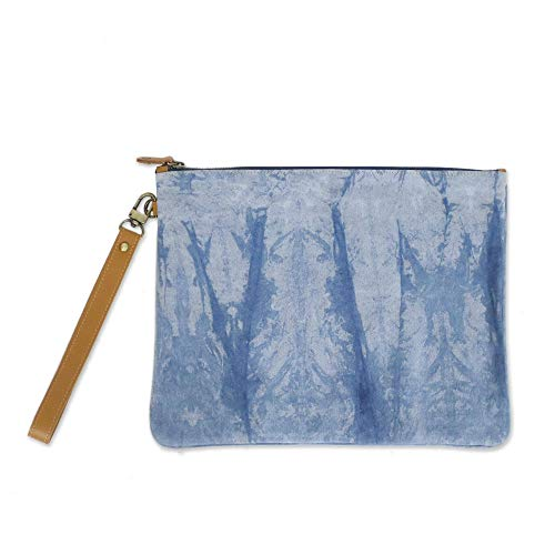 NOVICA Blue Leather Accent...