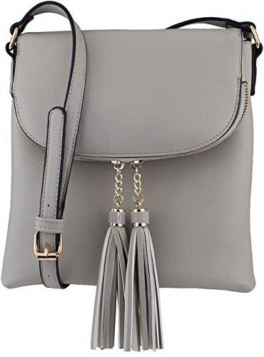 - B BRENTANO Vegan Medium Flap-Over Crossbody Handbag with Tassel Accents (Gray)