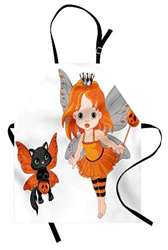 Lunarable Halloween Apron, Halloween Baby Fairy and Her Cat in Costumes Trick Butterflies Girls Kids Design, Unisex Kitchen Bib Apron with Adjustable Neck for Cooking Baking Gardening, (Original Halloween Costume Ideas For Babies)