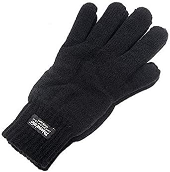 Mens 3M Black Thinsulate 40 Gram Thermal Lined Winter Warm Knit Gloves 3 Sizes