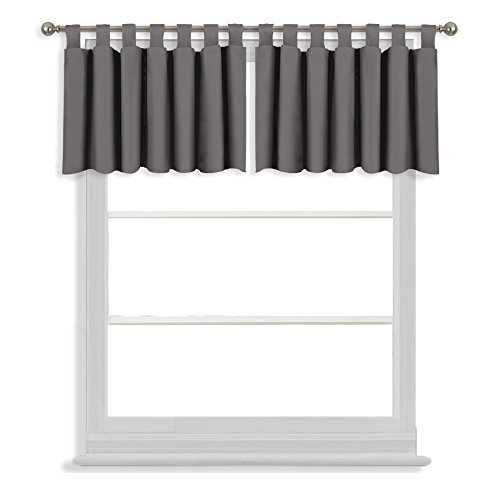 Gray Stripe Charcoal (NICETOWN Bedroom Blackout Window Curtain Valances - Home Decoration 52-inch by 18-inch Tab Top Tiers for Basement (Grey, 2 Panels))