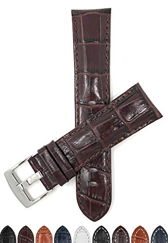 - Mens' 22mm Brown Alligator Style Genuine Leather Watch Band Strap, Glossy