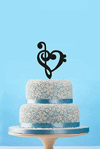 Amazoncom Music Heart Wedding Cake Topper Personalized Music