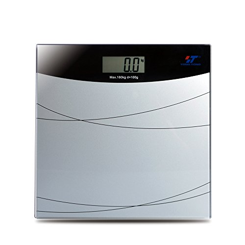 Yongtong Bathroom Scale, Digital Large LCD Display Body Scales, Tempered Glass Balance Platform Weight, 400 Lbs / 180kg Capacity, Step-On Technology High Accuracy Sensor, 1 x CR2032 Battery Included by T YONG TONG