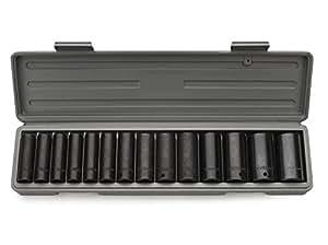 Neiko 02444 1/2-Inch SAE Drive Deep Impact Socket Set, Cr-V, 14-Piece