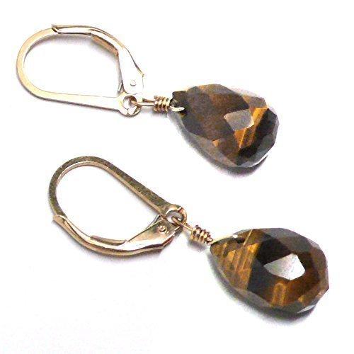 - Tiger Eye Briolette Gold-Filled Lever Back Earrings Custom