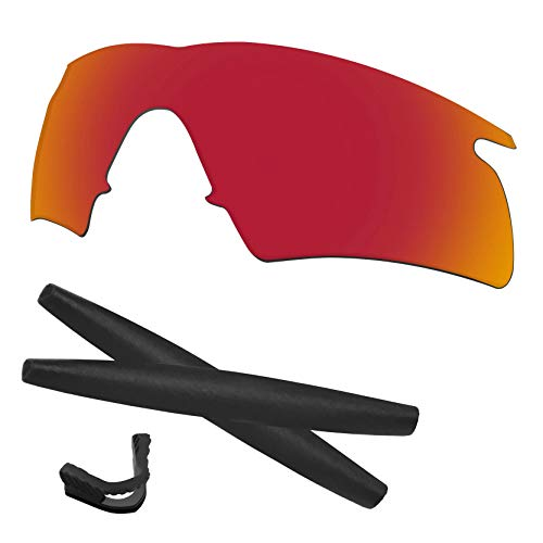 Predrox Red Mirror M Frame Hybrid Lenses & Rubber Kits Replacement for Oakley - Frame Oakley M Replacement Lenses