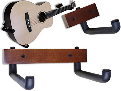 Angled Guitar Hanger Tilt and Display Your Guitar, Ukulele, Bass, Banjo at a Slanted Angle Sideways - Hang for easy access (Dark Stain)