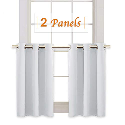 RYB HOME Kitchen Window Tiers Gift, Grommets Top Window Treatment Draperies for Room Darkening Privacy Curtains for Nursery/Dining Room/Bedroom, 42 W x 36 L Inch, Greyish White, 2 Panels ()