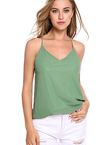 FineFolk Womens Summer Cool VNeck Chiffon Layered Backless Cami Tank Top,E-pale Green3,Large