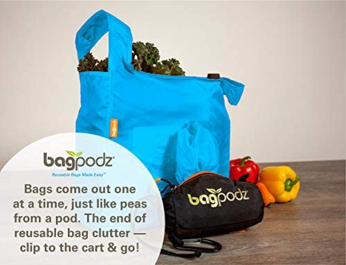 BagPodz Reusable Shopping Bags – Includes 10 Foldable Bags Inside a Compact Pod with Carry Clip – Super Strong Nylon Reusable Shopping Bags Hold as much as 50lbs – Sturdy, Washable and Easy to Use