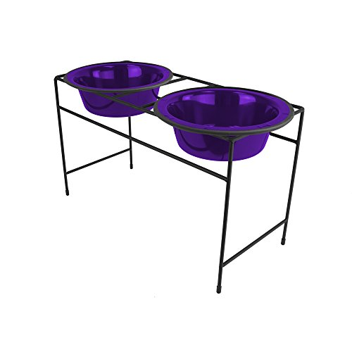 Platinum Pets Double Diner Feeder with Stainless Steel Dog Bowls, 3.5 cup/28 oz, Electric Purple