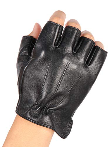 May&Maya Men's Deerskin Fingerless Half Finger Driving Fitness Motorcycle Cycling Unlined Leather Gloves (Black, - Silk Lambskin Gloves