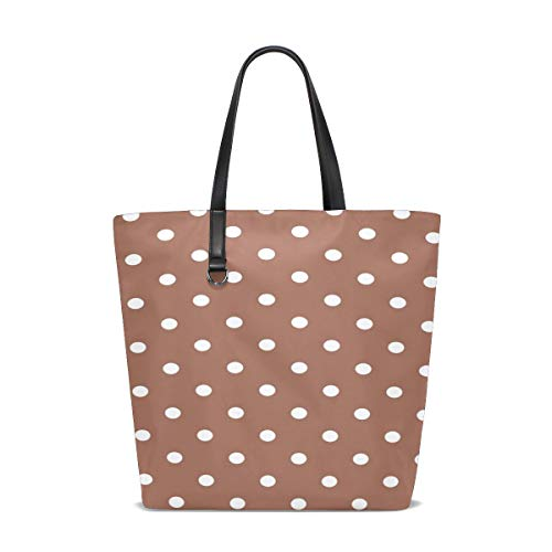 ENEVOTX Women Polka Dots Brown White Spots Dots Handle Satchel Handbags Shoulder Bag Tote Purse Messenger Bags