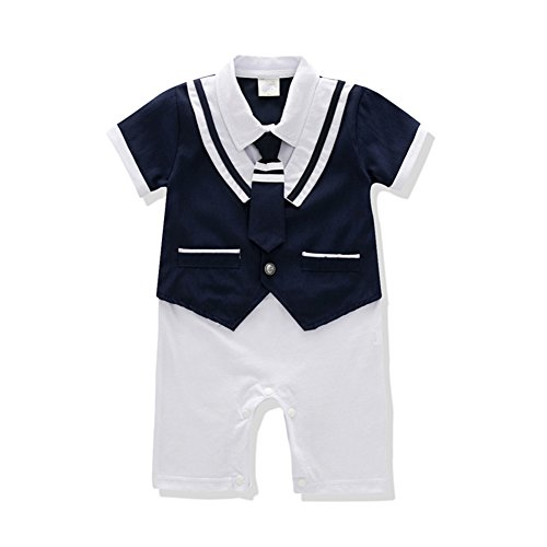 So Smart Baby Rompers Boys Navy Uniform and Sailor Style Outfit Jumpsuit Overalls Romper (19-24 Months, Navy Blue2) ()