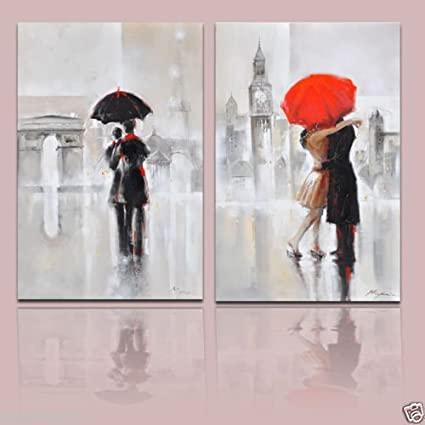 Amazon Com Real Hand Painted Abstract Romantic Couples In