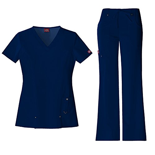 (Dickies Xtreme Stretch Women's V-Neck Scrub Top 82851 & The Extreme Stretch Drawstring Scrub Pants 82011 Medical Scrub Set (Navy - Large/Large Petite))