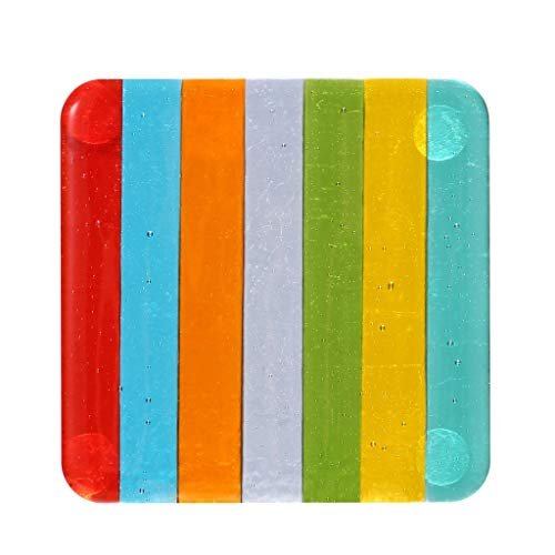 Fused Glass Coasters - Rainbow Fused Glass Coasters for Drinks, Suncatcher, Pack of 2 by Quotidian (Parallel)