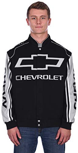 (JH DESIGN GROUP Men's Chevrolet Bow Tie Emblem Racing Style Cotton Twill Jacket (Small, Black &)