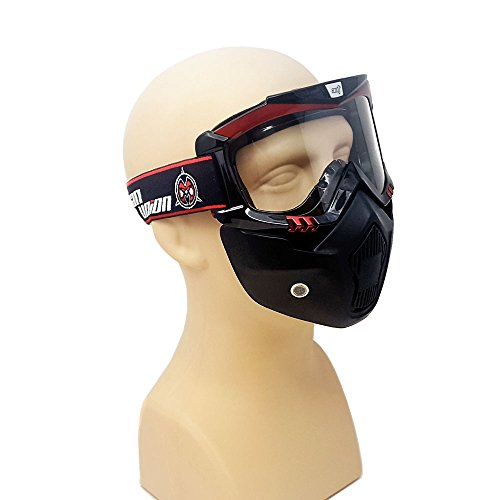 MYK Powersports Motocross Street - Detachable Modular Face Mask Shield with Goggles (Windproof) by MMG