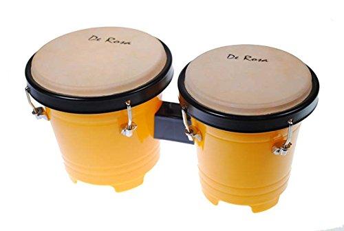 Mini Kids 5 inch Junior Plastic Bongos - Tunable Lap Bongo Drum (Yellow) by De Rosa